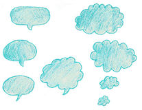 Hand Drawn and Colored Talk Bubbles (Isolated) Royalty Free Stock Images