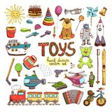 Hand drawn colored toys Royalty Free Stock Images