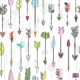 Hand drawn colored vector arrows collection. Doodle ethnic india Stock Photo