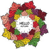 Hand drawn colorful autumn leaves wreath Stock Images