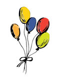Hand drawn colorful balloons. On white background Stock Photo