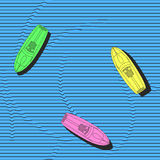 Hand drawn colorful boats on the sea surface, vector seamless pattern. Repeating elegant background with marine theme. Stock Images