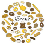 Hand Drawn colorful bread icon round set. Round Set of Bread colorful icons Royalty Free Stock Image