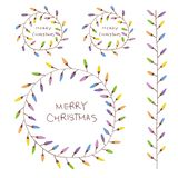 Hand drawn Christmas wreath with colorful light bulbs royalty free illustration