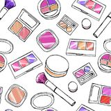 Makeup items seamless pattern. Royalty Free Stock Image