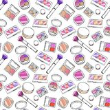 Makeup items seamless pattern. Royalty Free Stock Photography