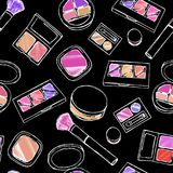 Makeup items seamless pattern. Stock Image