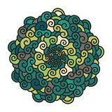 Hand drawn colorful curl Mandala  on white background. Royalty Free Stock Image