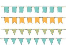 Hand drawn colorful doodle bunting banners for decoration. Doodle banner set, bunting flags, border sketch. Decorative elements. V. Ector illustration Stock Photography