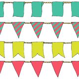 Hand drawn colorful doodle bunting banners horizontal seamless pattern. Doodle banner seamless pattern, bunting flags, border sket. Ch. Bright Decorative Stock Photography