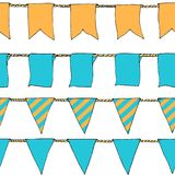 Hand drawn colorful doodle bunting banners horizontal seamless pattern. Doodle banner seamless pattern, bunting flags, border. Sketch. Bright Decorative Stock Image