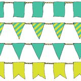 Hand drawn colorful doodle bunting banners horizontal seamless pattern. Cartoon banner, bunting flags, border sketch. Bright Decor. Ative elements for design Stock Images