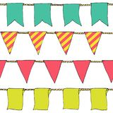 Hand drawn colorful doodle bunting banners horizontal seamless pattern. Cartoon bunting flags, banner, sketch border. Bright Decor Stock Photography