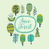 Hand drawn colorful doodle frame on white background. Vector illustration. bstract trees sketch collection cartoon vector illustra Stock Photography