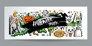 Hand drawn colorful doodle style Halloween and calligraphy, post Stock Images