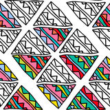 Hand drawn colorful doodle triangle ethnic seamless pattern. royalty free illustration