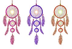 Handdrawn dreamcatcers. VECTOR illustration isolated on white. Magenta, purple, red dream catcher. vector illustration