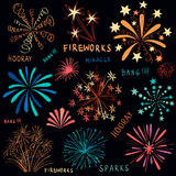 Hand drawn colorful fireworks set. Hand drawn vector colorful fireworks set on dark background Stock Photos