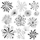 Hand drawn colorful fireworks set. Hand drawn vector colorful fireworks set on white background Royalty Free Stock Photography
