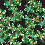 Hand drawn colorful floral seamless pattern. Doodles flowers. Can use them for prints, textile decoration, cards, wallpapers, wrapping royalty free illustration