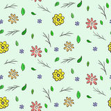 Hand drawn colorful floral seamless pattern vector illustration