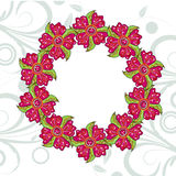 Hand drawn colorful flower wreath frame Royalty Free Stock Images