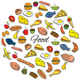 Hand Drawn Colorful Food Round Set Stock Photography