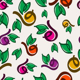 Hand drawn colorful fruits, leaves and berries seamless pattern. Stock Photography