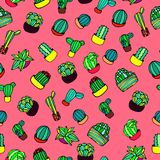 Hand drawn colorful hand drawn cactus retro seamless pattern vector. Hand drawn colorful cactus retro seamless pattern vector for prints on paper, fabric or Royalty Free Stock Image