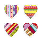 Hand drawn colorful hearts Royalty Free Stock Images