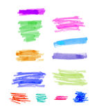 Hand drawn colorful highlight stripes design elements brushes strokes. Hand drawn colorful highlight stripes design elements brushes marker strokes stock photo