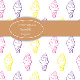 Hand drawn colorful ice cream  pattern Royalty Free Stock Photo