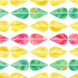 Watercolor abstract seamless pattern of geometric elements. Hand-drawn colorful illustration, ethnic background for design Stock Photos