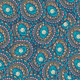 Hand drawn colorful Indian seamless patterns ornaments Royalty Free Stock Images