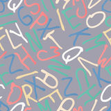 Hand drawn colorful letters, seamless pattern. Abstract alphabet background. Hand drawn colorful letters, seamless pattern. Abstract alphabet background Stock Image