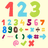 Hand drawn colorful number and symbol. 123 pastel color,numeric and symbol,doodle font royalty free illustration