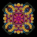 Hand drawn colorful pattern. On black background Stock Image