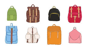 Hand drawn colorful realistic backpack set. different trendy rucksac collection. Royalty Free Stock Image
