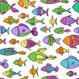 Hand drawn colorful seamless pattern with fishes Royalty Free Stock Photos