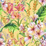 Hand drawn colorful seamless pattern with watercolor banana leaves, exotic plants and alstroemeria flowers. Summer repeated background Royalty Free Stock Image