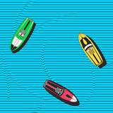 Hand drawn colorful seamless vector pattern with speedboats floating in the sea. Royalty Free Stock Photo