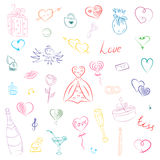 Hand Drawn Colorful Set of Valentine`s Day Symbols. Children`s Funny Doodle Drawings of Hearts, Gifts, Rings, Balloons stock illustration