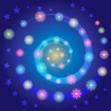 Hand Drawn Colorful Shinning Snowflakes arranged in shape of Spiral on Blue Sky with Stars. Perfect for Festive design. Vector Illustration Royalty Free Stock Photography