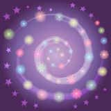 Hand Drawn Colorful Shinning Snowflakes arranged in shape of Spiral on Night Sky with Stars. Perfect for Festive design. Vector Illustration Stock Photos