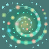 Hand Drawn Colorful Shinning Snowflakes arranged in Spiral with Stars. Perfect for Festive design. Vector Illustration Royalty Free Stock Images