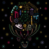 Hand Drawn Colorful Silhouette of Reindeer and Holiday`s Symbols Stock Photos