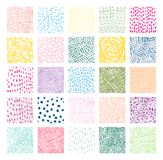 Hand drawn colorful square vector textures. With lines, dots and scribbles for graphic design Royalty Free Stock Photo