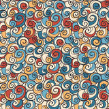 Hand drawn colorful swirls seamless background pattern Royalty Free Stock Photography
