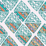 Hand Drawn Colorful Triangle Seamless Pattern With Green, Pink, Blue, Orange Details. Doodle Triangles On Beige. Royalty Free Stock Photography