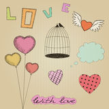 Hand-drawn colorful Valentines Day design elements Stock Image